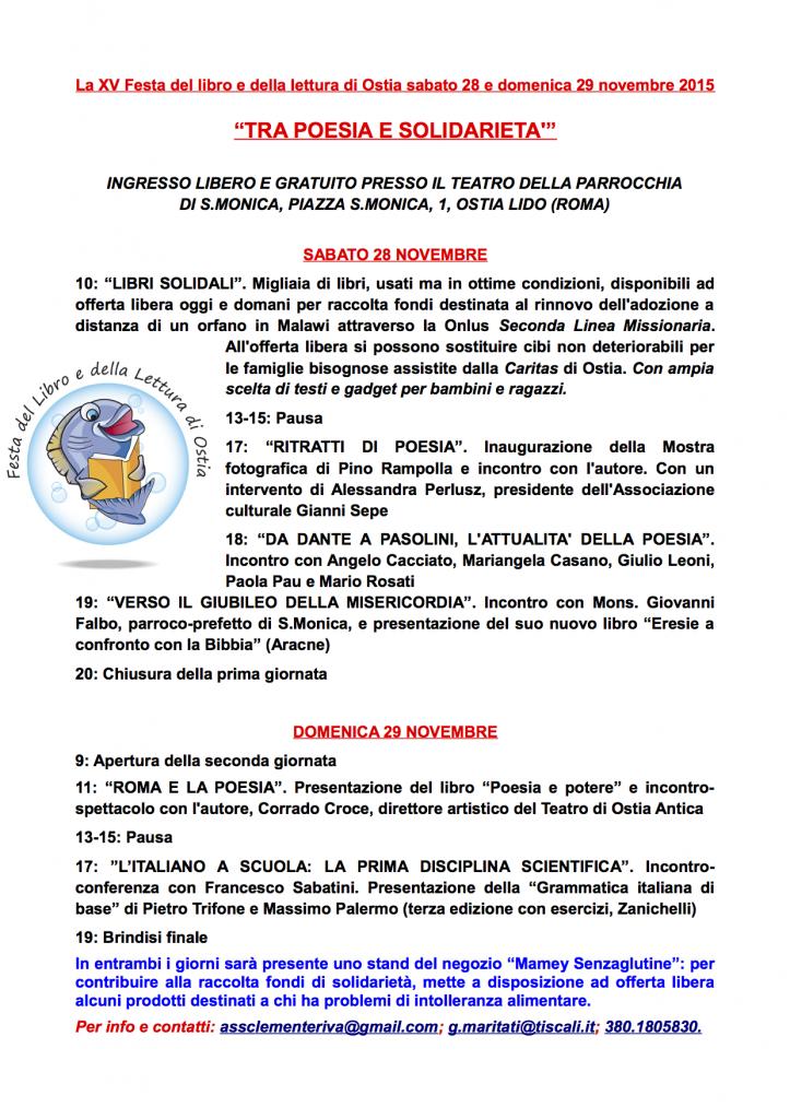 XV FESTA DEL LIBRO DI OSTIA (programma)