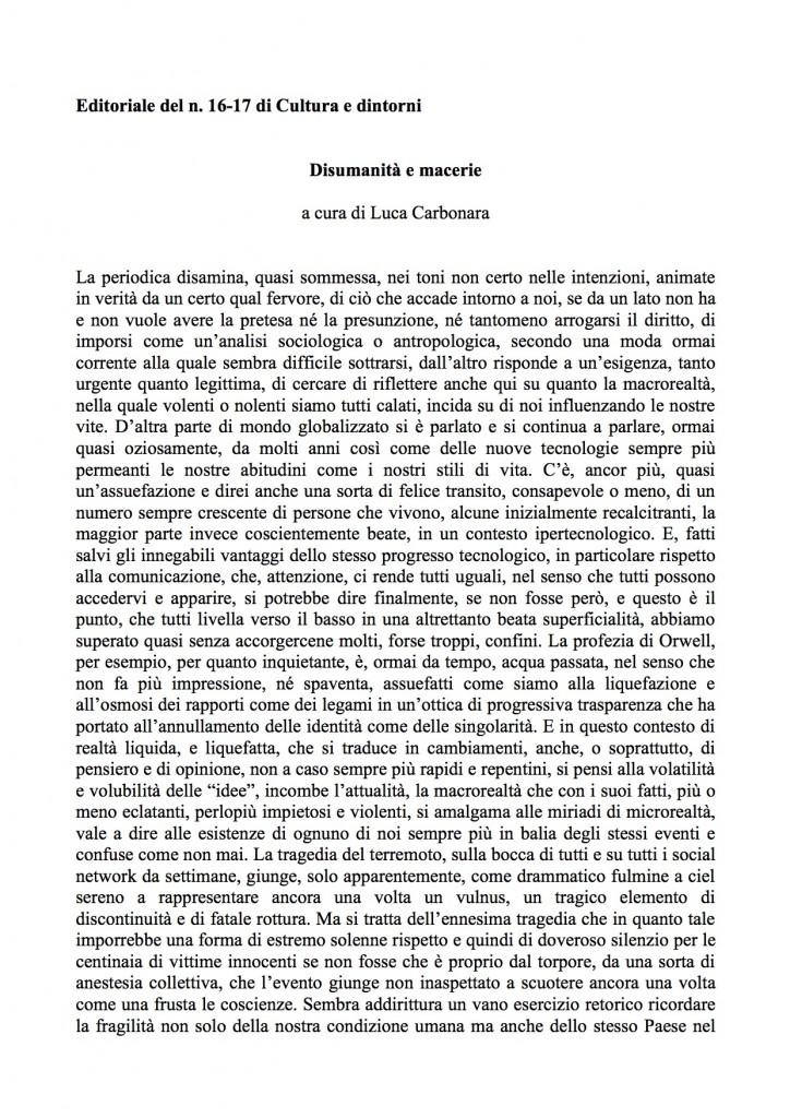 Editoriale Cultura e dintorni n.16-17