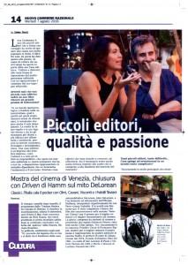 """L'intervista all'editore di Cultura e dintorni Luca Carbonara pubblicata sul """"Nuovo Corriere Nazionale"""" del 7/8/2018"""